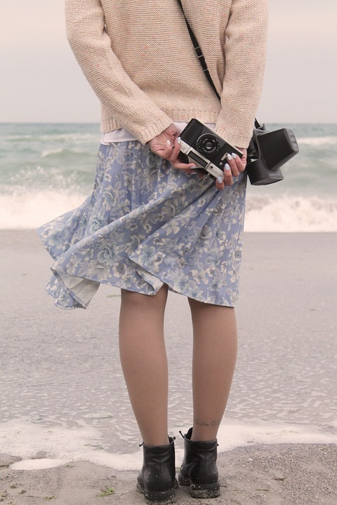 Girl, Camera, Sea, Zenith, Lens, Photographer, Bay