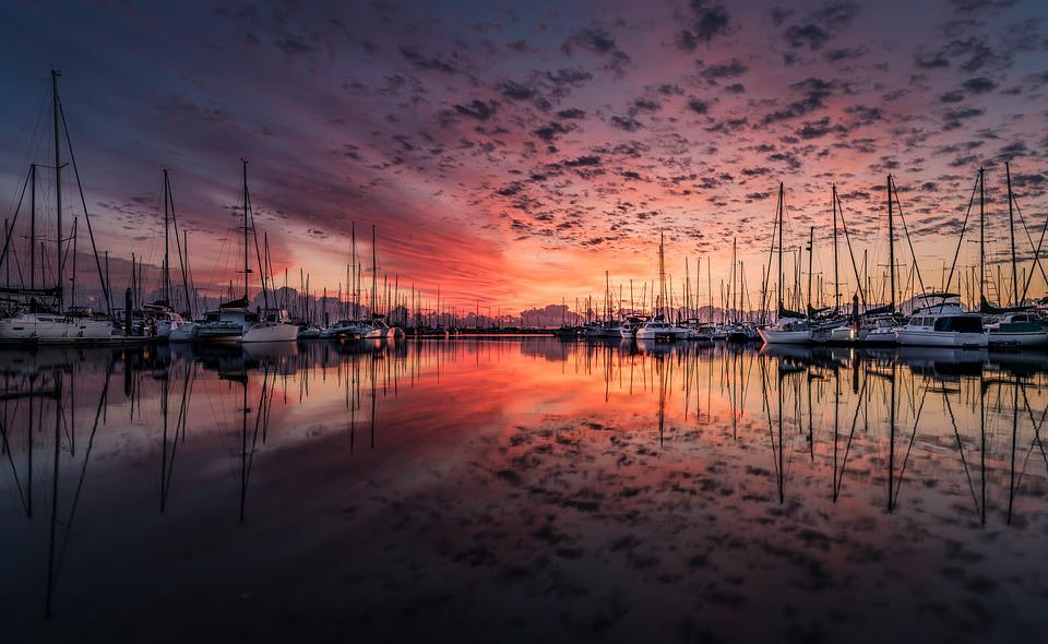 Boats, Port, Sunrise, Sunset, Reflection, Sea, Bay