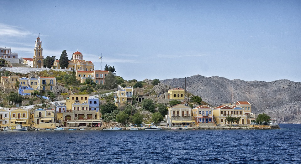 Symi, Greece, Landscape, Bay, Harbor, Water, Shoreline