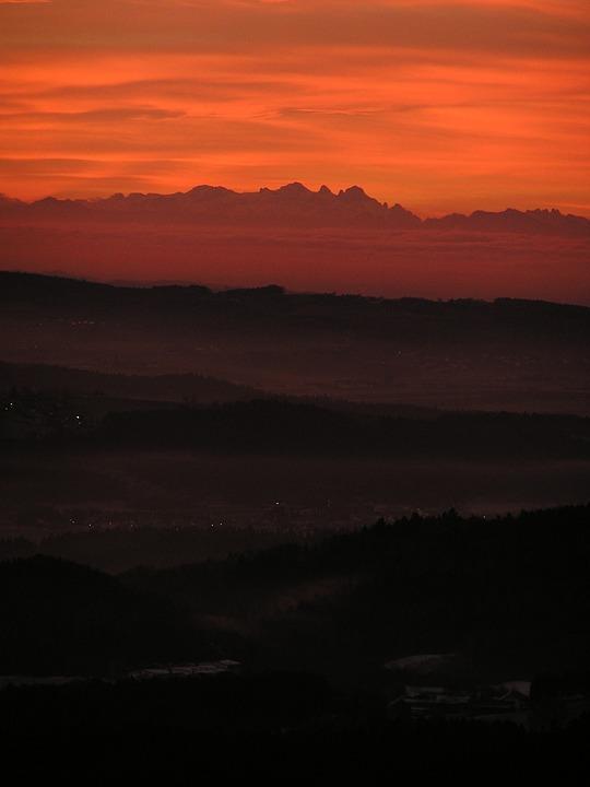Sunrise, Bayer Forest, Danube Valley, Alpenblick, View