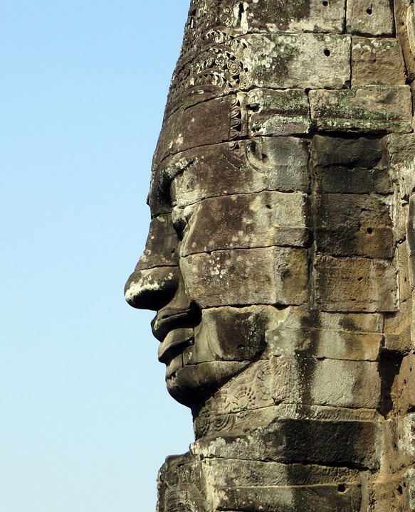 Cambodia, Angkor, Temple, Bayon, Statue, Face, Profile
