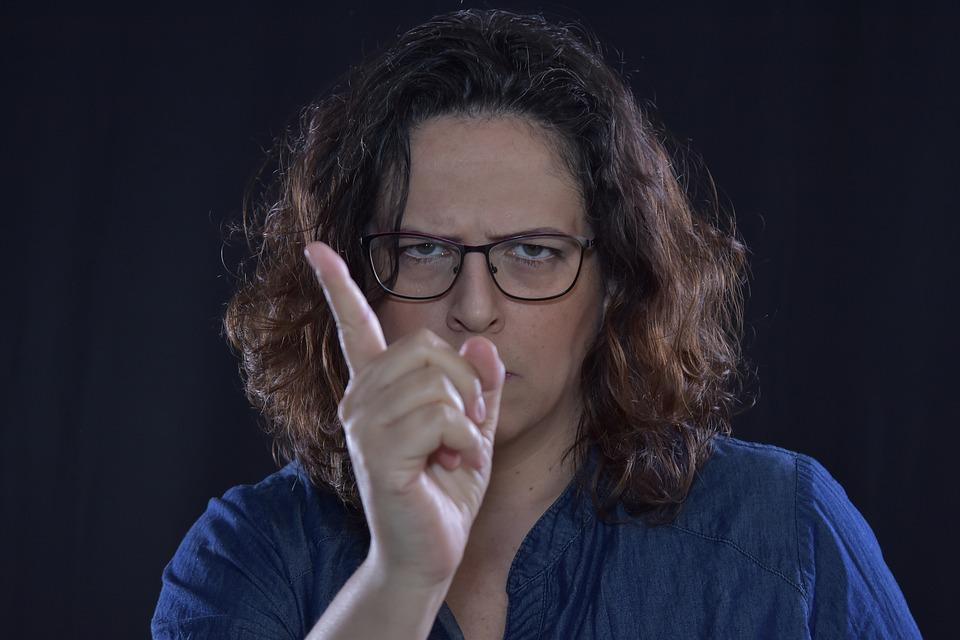 Warning, Angry, Be Careful, Finger, Woman, Glasses