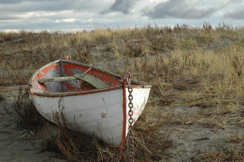 Weathered Rowboat, Abandon Boat, Beach