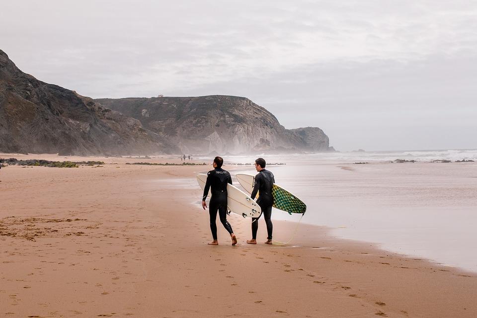 Surfer, Ocean, Algarve, Vacations, Portugal, Sea, Beach