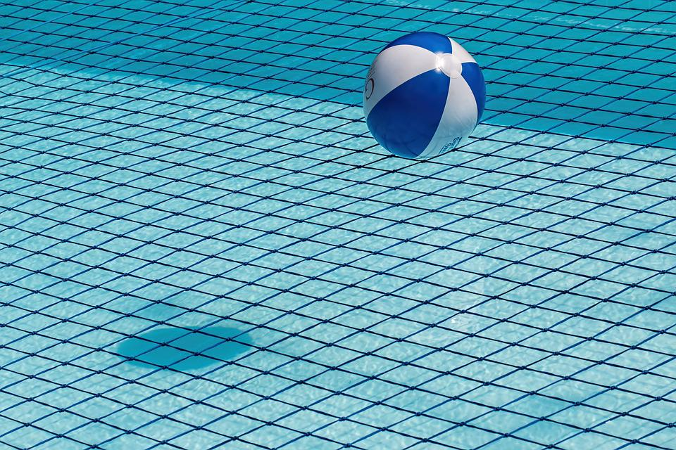 Beach Ball In Water free photo beach ball blue safety net swimming pool water - max pixel