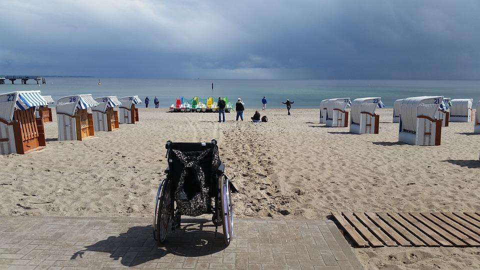 Beach, Beach Chair, Sea, Wheelchair, Sand, Holiday
