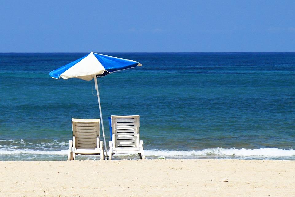 Beach, Bed, Blue, Chair, Holiday, Ocean, Parasol