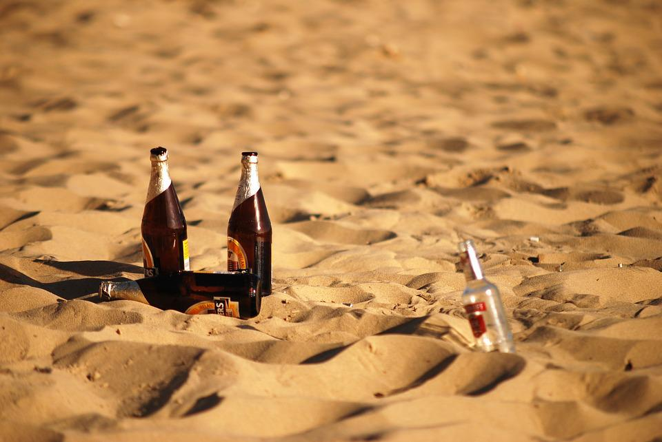 Beach, Beer, Bottles, Sand, Drink, Alcohol, Vacation