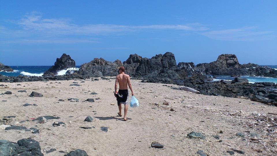 Man, Blue Sky, Aruba, Ocean, Sea, Beach, Seascape, Sky