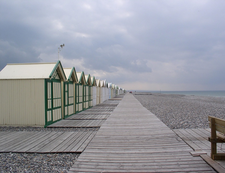 Cayeux On Sea, Beach, Pebble, Cabins, Bath, Boards