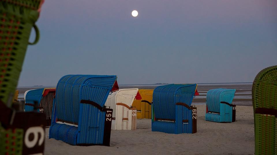 Beach, Night, Beach Chair, Ocean, Sea, Roofed, Wicker