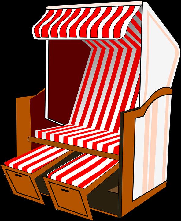 Roofed Wicker Beach Chair, Beach Chair, Beach, Chair