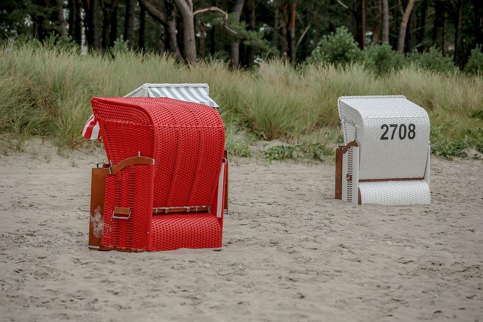 Beach Chair, Beach, Baltic Sea, Red, Rügen, Holiday