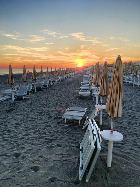 Free photo Beach Chairs Sunset Holidays Holiday Umbrellas Max Pixel