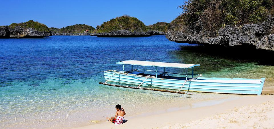 Beach, Child, Play, Boat, 100 Islands, Luzon