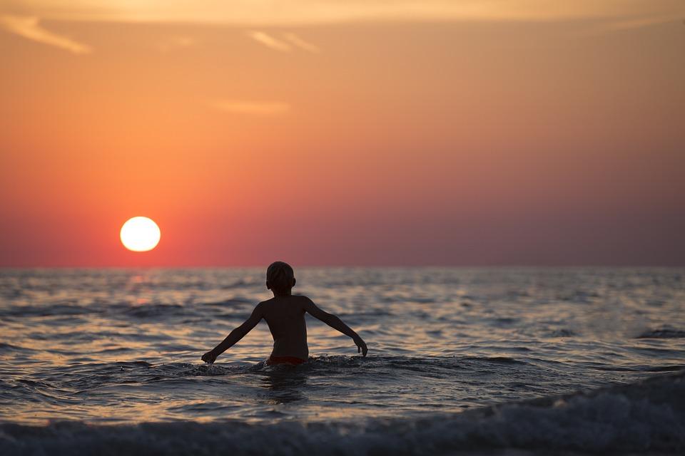 Beach, Boy, Child, Dawn, Dusk, Horizon, Kid, Leisure