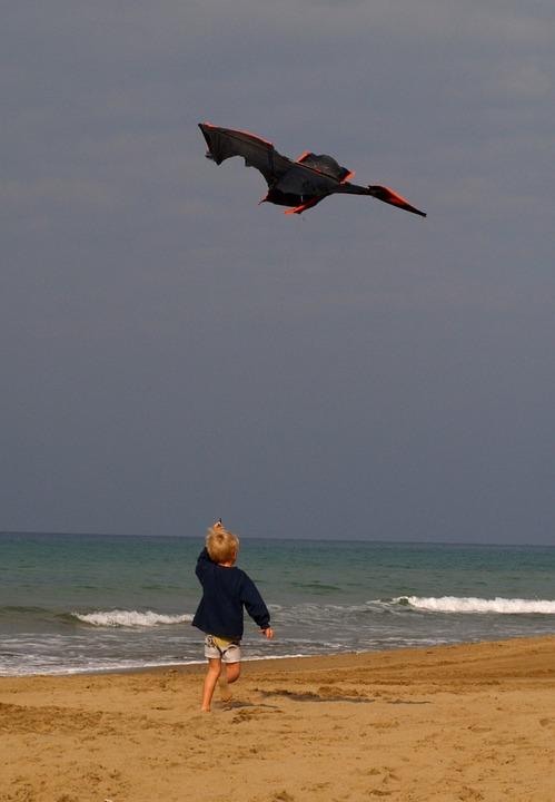 Dragons, Child, Autumn, Sea, Beach