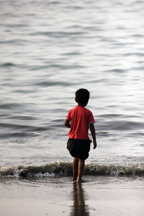 Kid, Beach, Water, Child, Infant, India, Indian