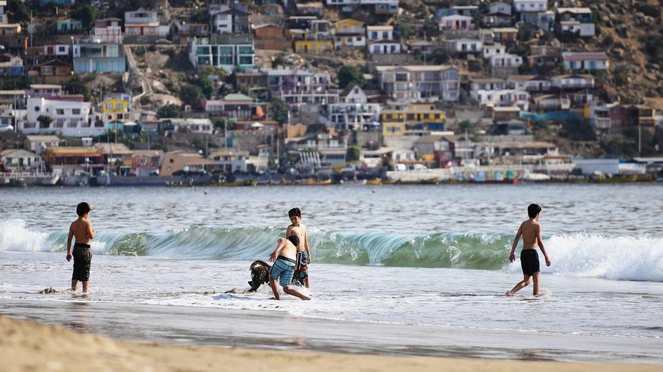 Beach, Bathroom, Cove, People, Guanaqueros, Children