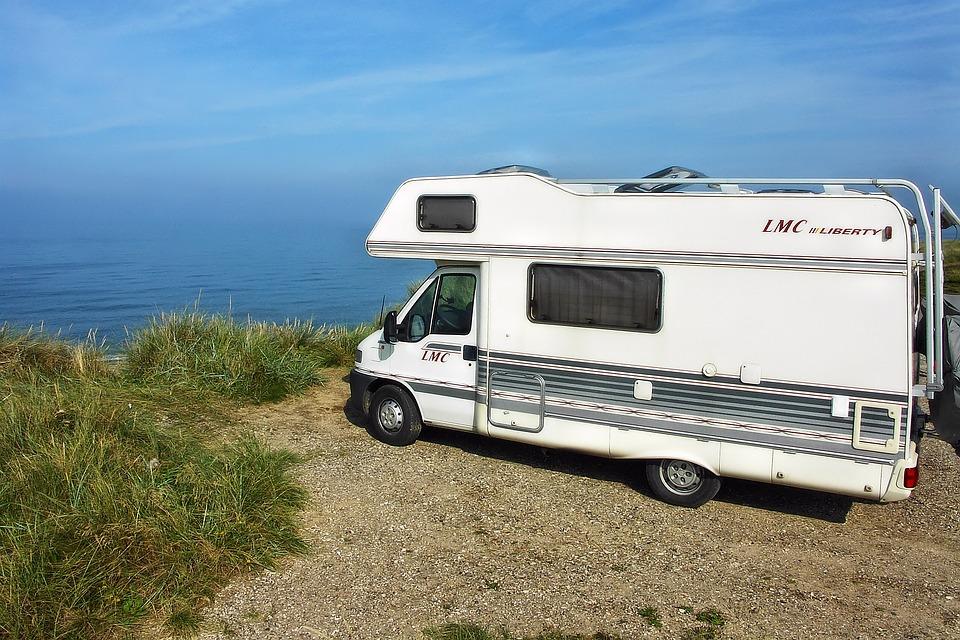 Mobile Home, Camper On The Beach, Beach, Cliffs