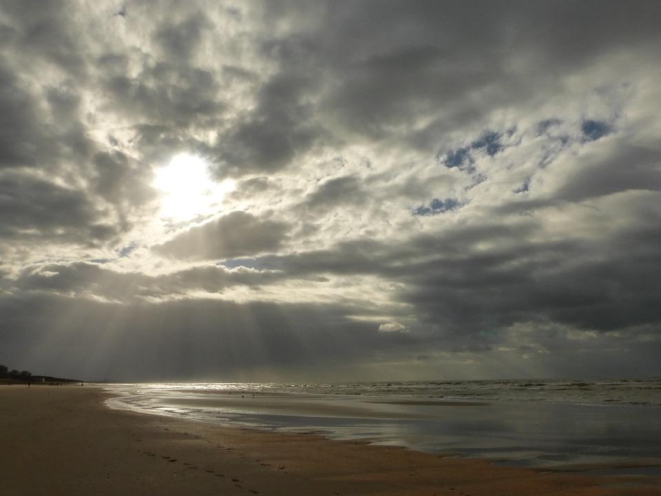 Sun, Clouds, Beach, Sea, Belgium Coast, Air, Sun Rays