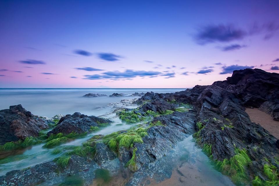 Beach, Rocks, Mediterranean, Sea, Maritime, Clouds