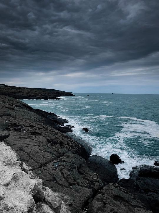 Ocean, Rocks, Storm, Sea, Overcast, Cloudy, Beach