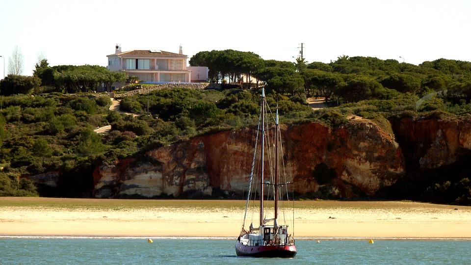 Sailing Vessel, Coast, Beach, Rock, Sea, Water, Algarve