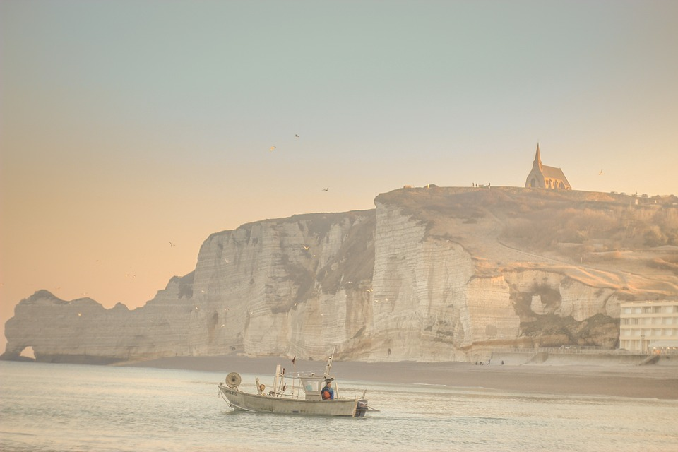 Beach, Coast, Cliffs, France, Etretat, Channel, Boat