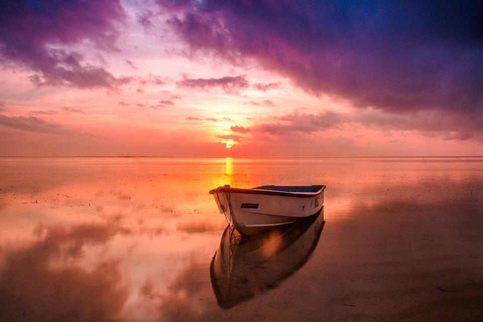 Beach, Boat, Dawn, Dusk, Nature, Ocean, Outdoors