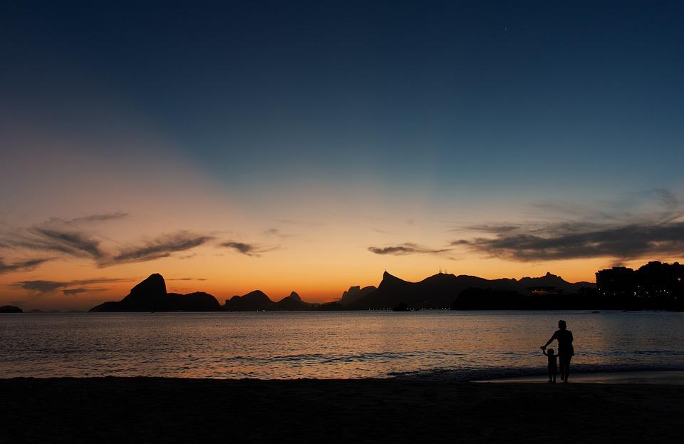 Seascape, Silhouette, Sunset, Sea, Ocean, Beach, Dawn