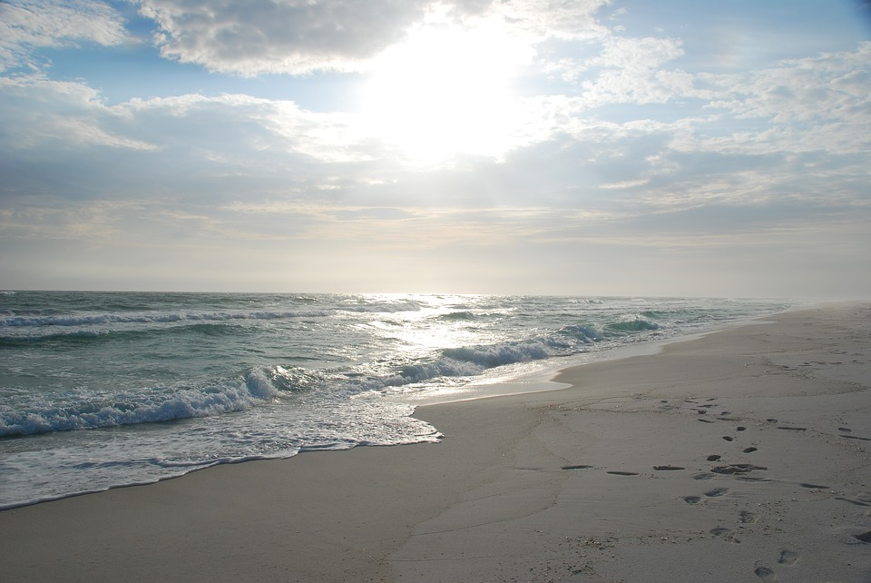 Sunrise, Beach, White Sand, Coast, Empty, Water
