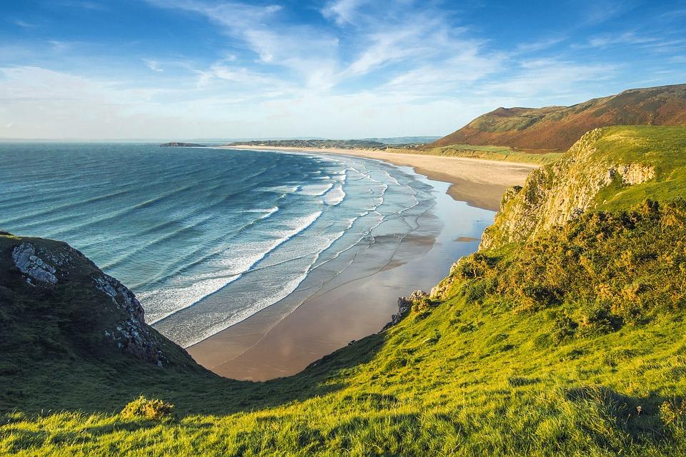 Beach, Coast, Ocean, Wales, England