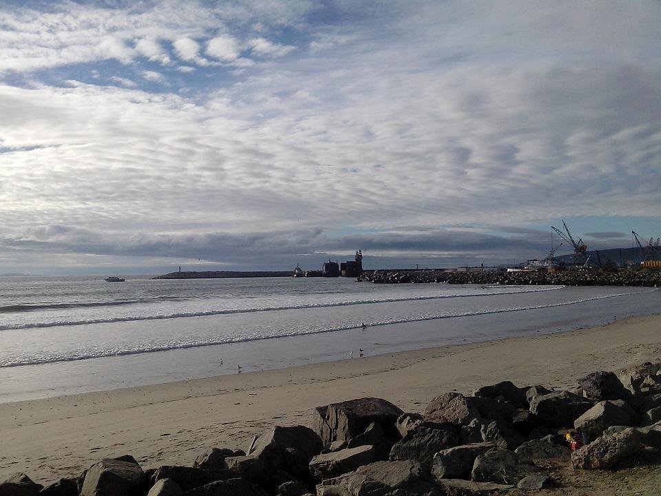 Beach, Ensenada, Sea, Clouds