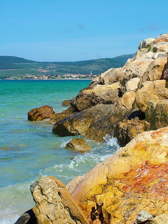 Stony, Beach, Water, Sea, Seaside, Far Away, Village