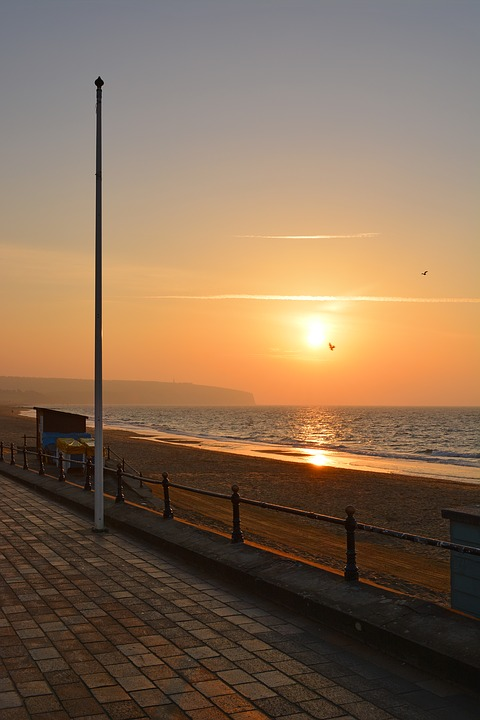 Beach, Sea, Seaside, Pole, Flagpole, Sunset, Sunrise