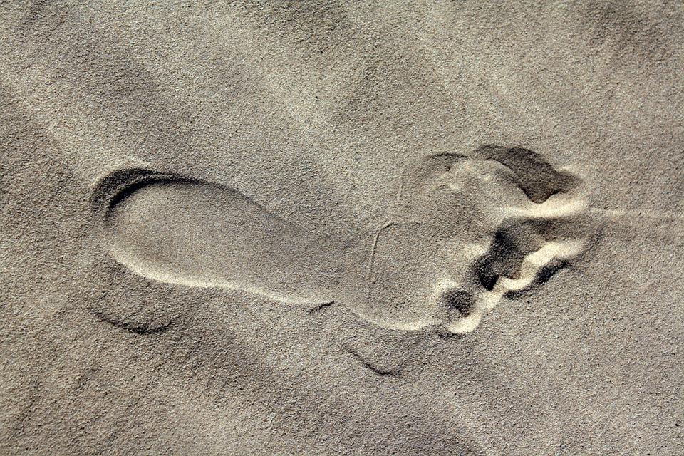 Footprint, Sand, Beach, Barefoot, Footstep, Journey