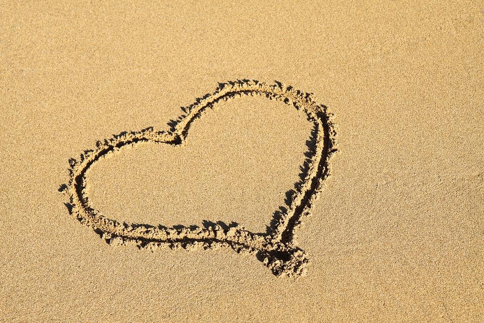 Background, Beach, Coast, Heart, Love, Ocean, Romance