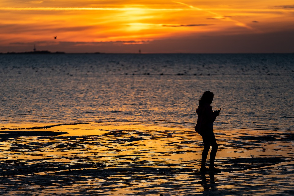 Human, Person, Children, Silhouette, Girl, Young, Beach