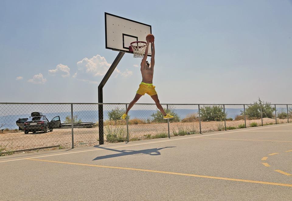 Basketball, Sport, Game, Jump, Male, Person, Beach