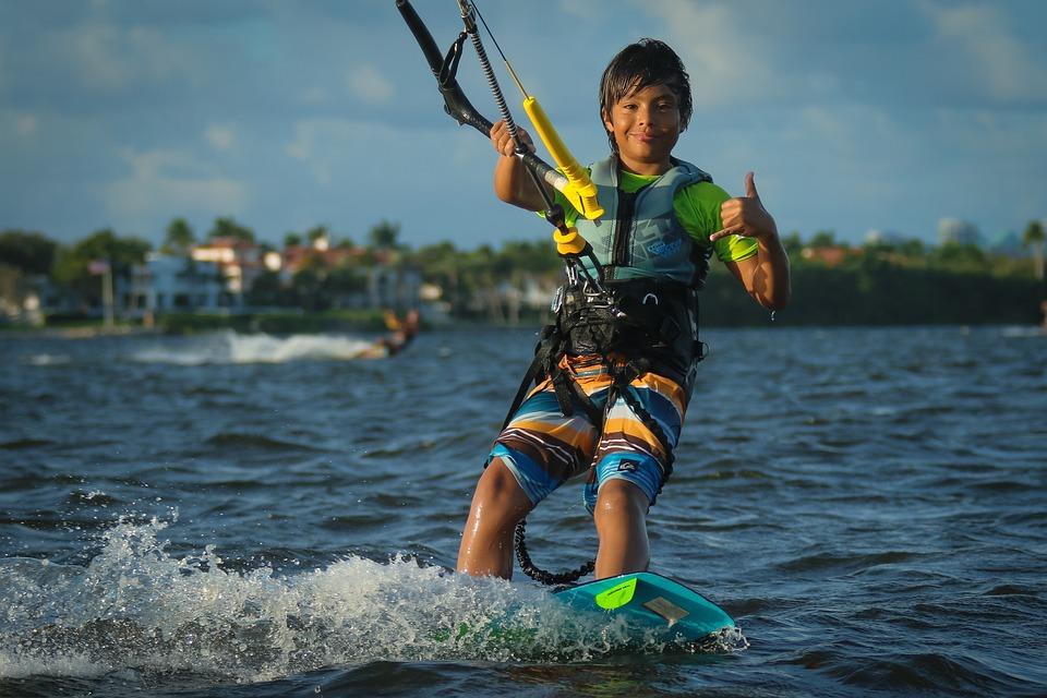 Kitesurfing, Kite Boarding, Beach, Ocean, Kid, Boy