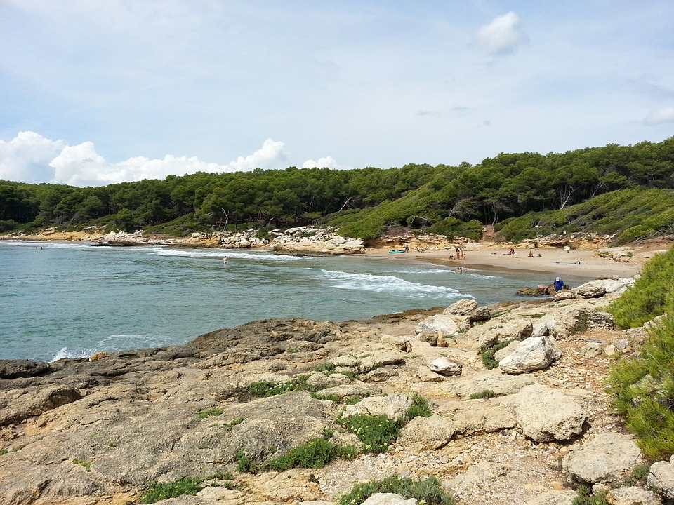 Beach, Sun, Costa, Sea, Landscape, Rocks