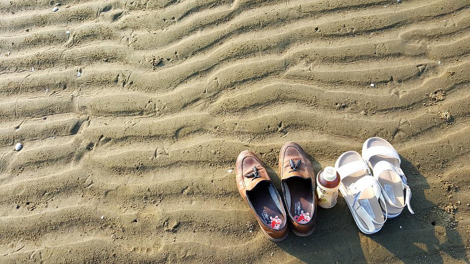 Bathing Beach, Sea, Shoes, Landscape, Beach