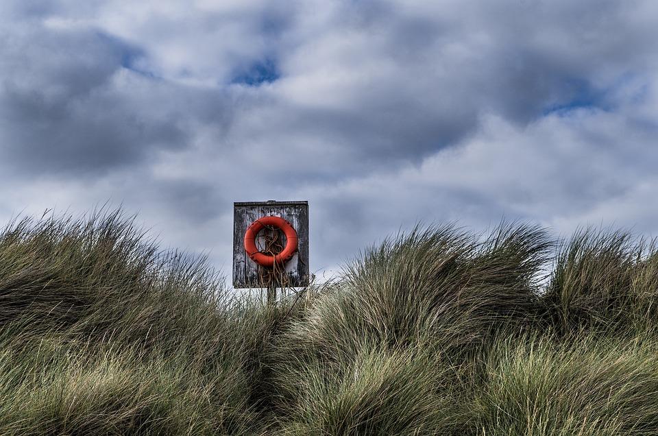 Lifebelt, Beach, Sea, Coast, Sand, Red, Security