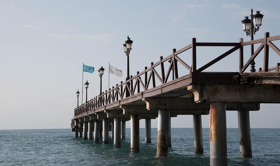 Marbella, Jetty, Beach, Costa, Grey, Sea