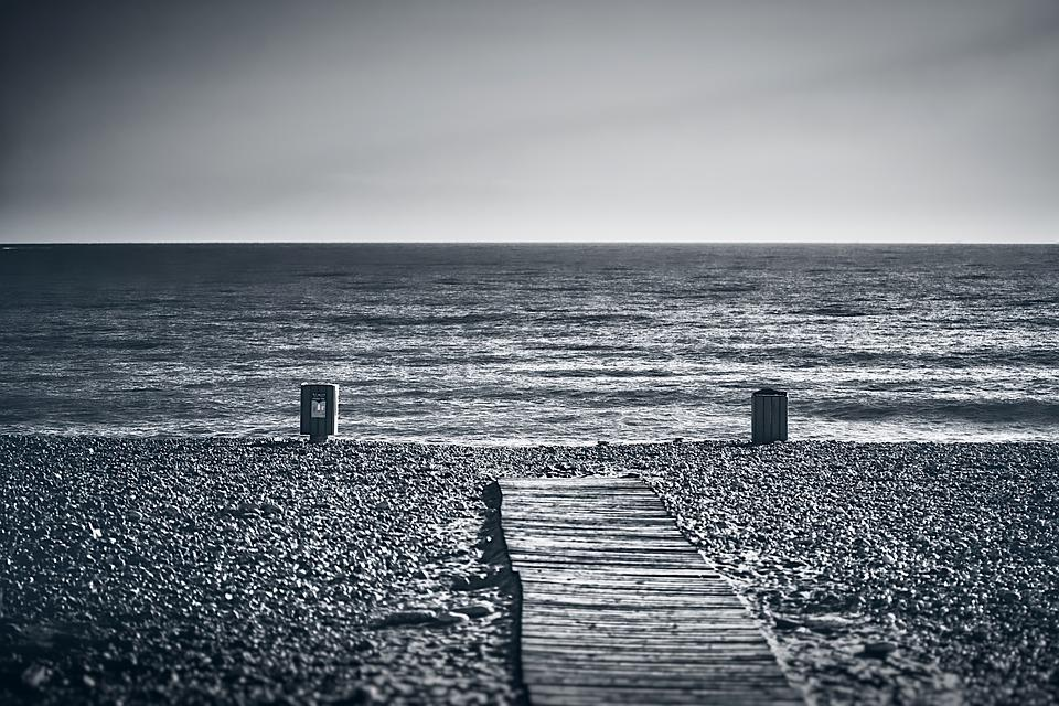 Beach, Empty, Monochrome, Sea, Water, Ocean, Nature