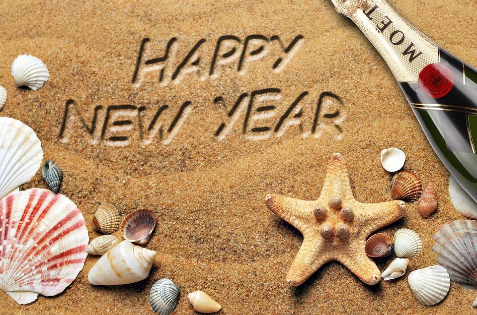 New Year, Beach, Champagne, Shells, Sand, 2020, Light