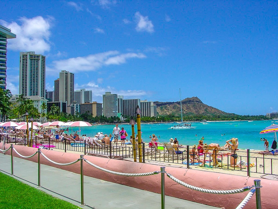 Diamond Head, Oahu, Beach, Ocean, Coast, Hawaii, City