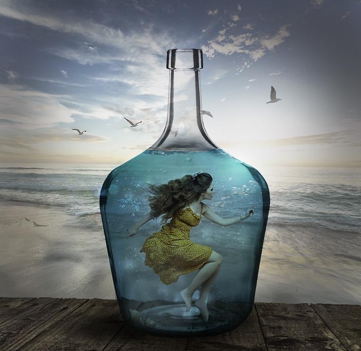 Water, Girl, Sea, Bottle, Trapped, Beach, Ocean, Model