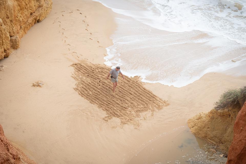Man, Sand, Pattern, Beach, Art, Wave, Ocean, Vacations